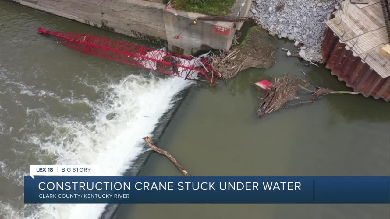 Construction crane stuck under water