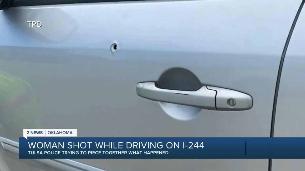 Woman shot while driving on I-244