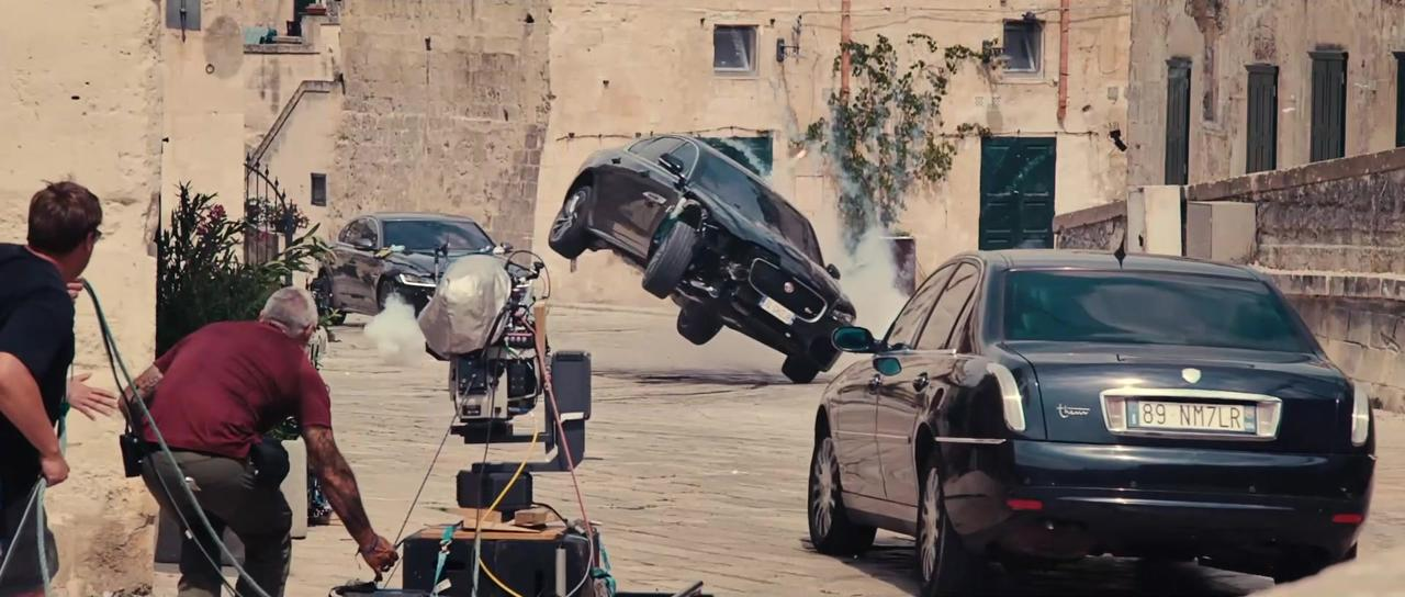 Jaguar XF celebrates its James Bond debut in No Time To Die - the Jaguar limousine pushes its limits in the narrow streets of Ma