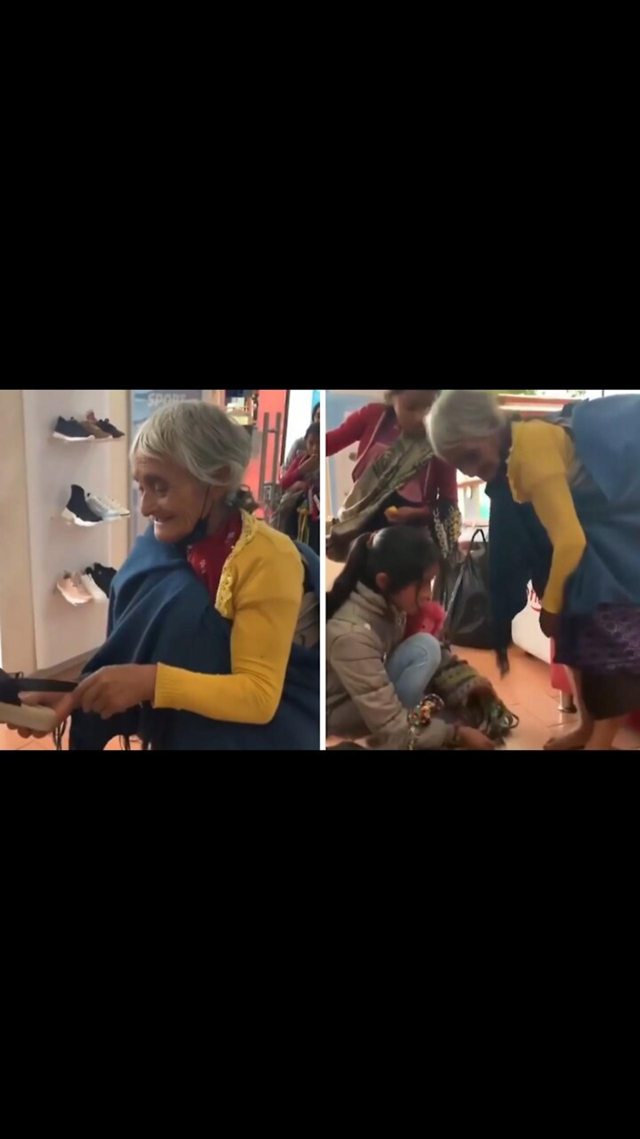 Shoeless indigenous elder surprised with new sandals