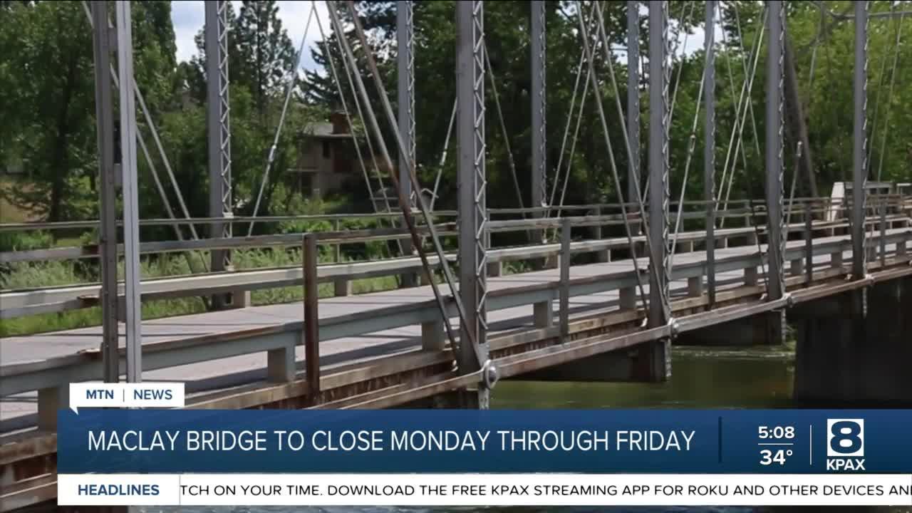 Missoula's Maclay Bridge to close for repairs