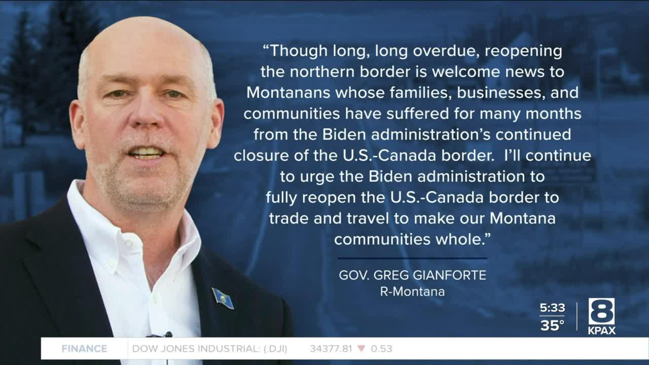 Montana politicians react to planned Canadian border reopening