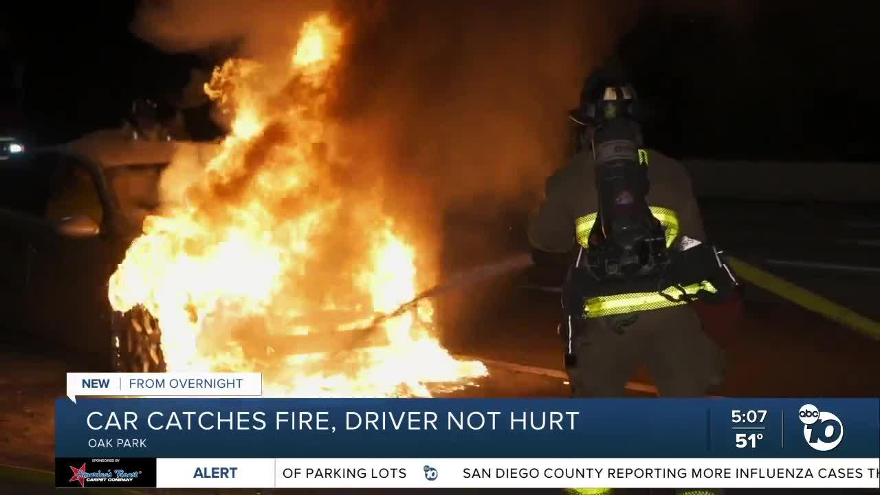 Car catches fire in Oak Park, no injuries reported