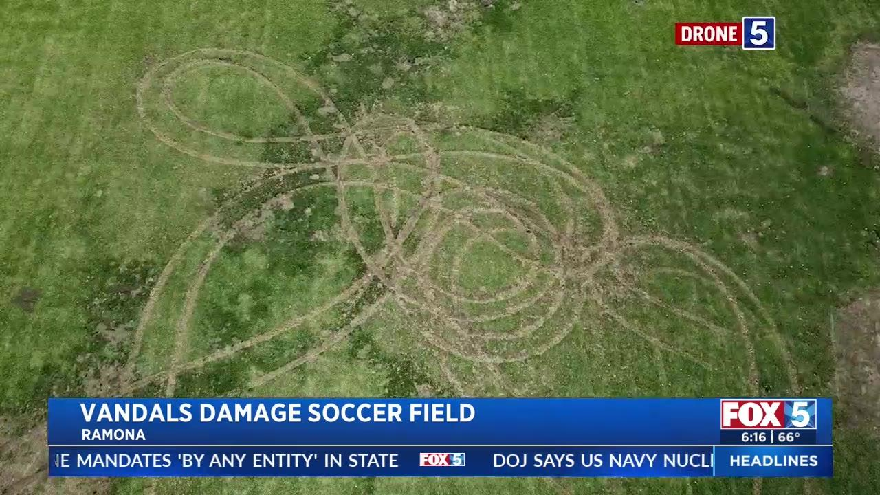 California youth soccer field destroyed by vandals who drove doughnuts all over it