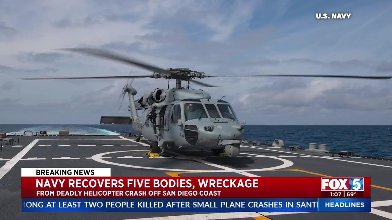 Navy recovers 5 bodies, wreckage from helicopter crash off San Diego coast