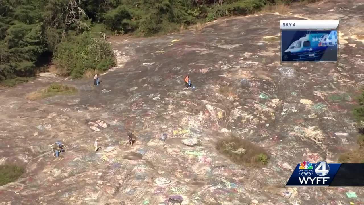 Volunteers begin removing graffiti from Bald Rock Heritage Preserve