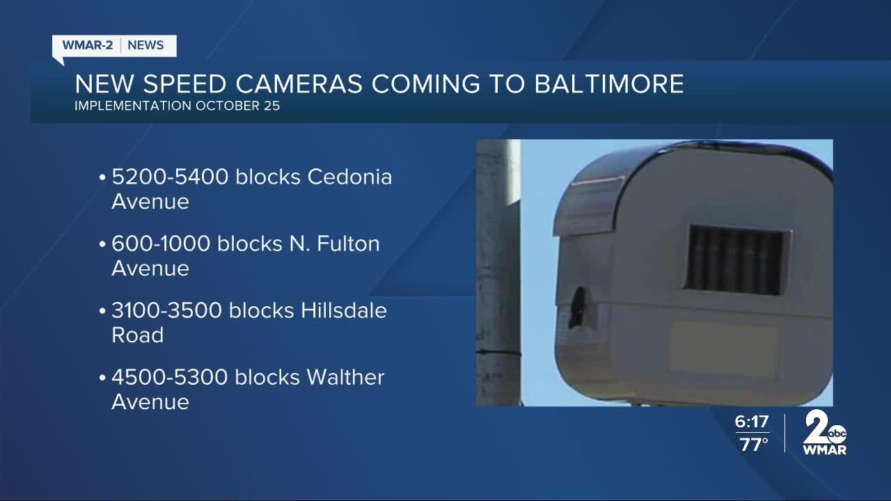 New speed and red light Cameras in Baltimore
