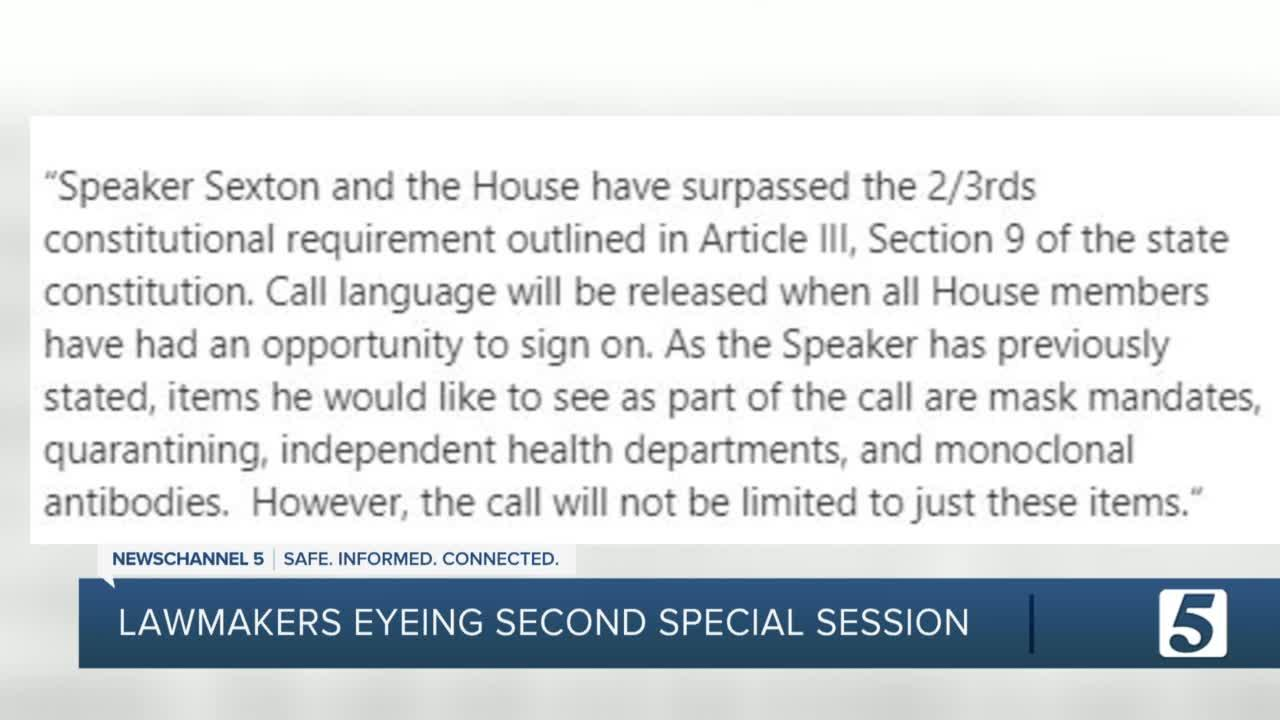 Tennessee legislators looking to call special session on COVID restrictions